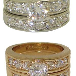 NWT ring cz wedding set white or yellow gold